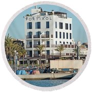 Portixol Marina Moored Boats Round Beach Towel