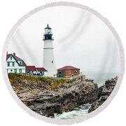 Portland Head Light Round Beach Towel