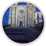 Porto Cathedral By Night In Portugal Round Beach Towel