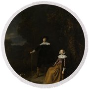 Portrait Of A Couple In A Landscape Round Beach Towel