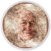 Portrait Of A Father Round Beach Towel