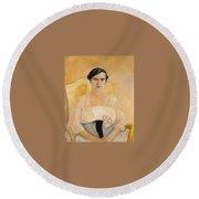 Portrait Of A Lady Boris Grigoriev Round Beach Towel