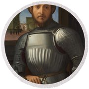 Portrait Of A Man In Armour Round Beach Towel