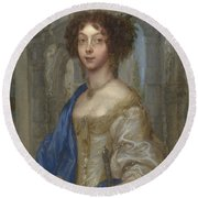 Portrait Of A Woman As Saint Agnes Round Beach Towel