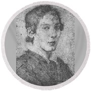 Portrait Of A Young Man Round Beach Towel