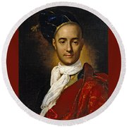 Portrait Of A Young Nobleman Round Beach Towel