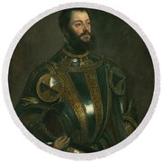 Portrait Of Alfonso D'avalos Marquis Of Vasto In Armor With A Page Round Beach Towel