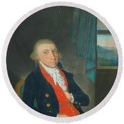 Portrait Of An American Sea Captain Round Beach Towel