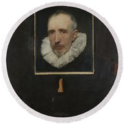 Portrait Of Cornelis Van Der Geest Round Beach Towel