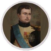 Portrait Of Napoleon Buonaparte Round Beach Towel