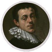 Portrait Of Painter Josef Heintz Round Beach Towel