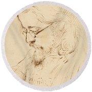 Portrait Of Samuel Palmer Head And Shoulders Round Beach Towel