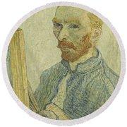 Portrait Of Vincent Van Gogh Round Beach Towel