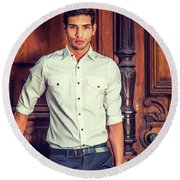 Portrait Of Young Businessman. Round Beach Towel