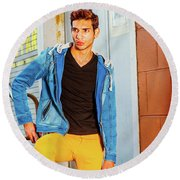 Portrait Of Young Man In New York Round Beach Towel