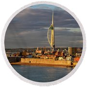 Portsmouth Harbour England  Round Beach Towel