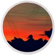 Post Sunset Sky  Round Beach Towel