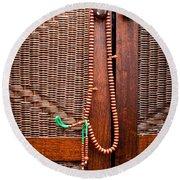 Prayer Beads Round Beach Towel by Tom Gowanlock
