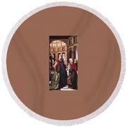 Presentation Of Christ Wga Rogier Van Der Weyden Round Beach Towel