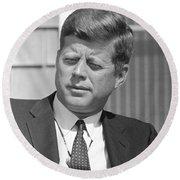 President John Kennedy Round Beach Towel by War Is Hell Store