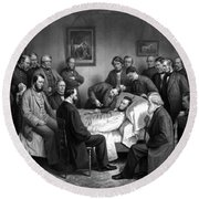 President Lincoln's Deathbed Round Beach Towel