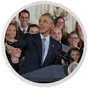 President Obama Honors Us Womens Soccer Team At White House #2 Round Beach Towel