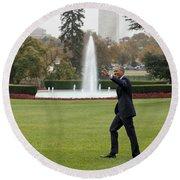 President Obama - White House South Lawn #1 Round Beach Towel