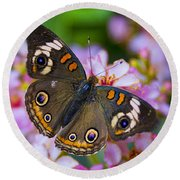 Happy Little Butterfly  Round Beach Towel