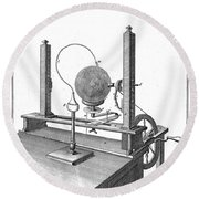 Priestleys Electrostatic Machine, 1775 Round Beach Towel