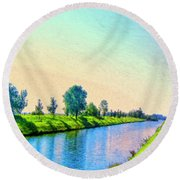 Provence Canal Round Beach Towel