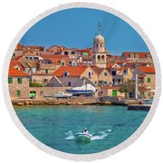 Prvic Sepurine Waterfront And Stone Architecture View Round Beach Towel