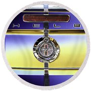 Psychedelic Shelby Ford Mustang Trunk Lid And Badge 4 Round Beach Towel