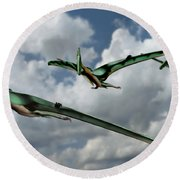 Pterodactyls In Flight Round Beach Towel