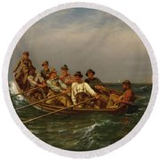 Pull For The Shore Round Beach Towel