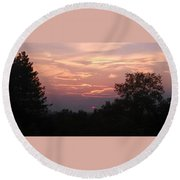 Purple Summer Evening Round Beach Towel
