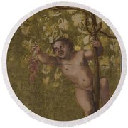 Putto Gathering Grapes Round Beach Towel