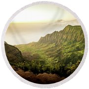 Puu O Kila Lookout, Kauai, Hi Round Beach Towel by T Brian Jones