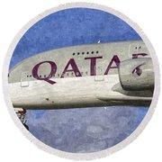 Qatar Airlines Airbus A380 Art Round Beach Towel