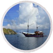 Silent Diving Bay On The Coast Of Sulawesi Round Beach Towel