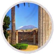 Quiet Vesuvius Round Beach Towel