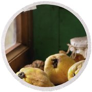 Quince And Honey Round Beach Towel