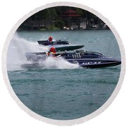 Racing Hydroplanes Boats On The Detroit River For Gold Cup Round Beach Towel