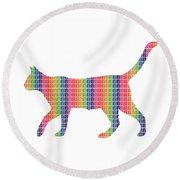 Rainbow Cat Round Beach Towel
