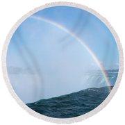 Rainbow Over Niagara Falls Horseshoe Waterfall Round Beach Towel