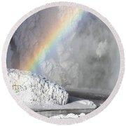 Rainbow Over Skogarfoss Waterfall Round Beach Towel
