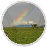 Rainbow Over The Masai Mara Round Beach Towel