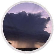 Rainstorm At Amboseli Round Beach Towel