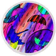 Rainy Day Love Round Beach Towel