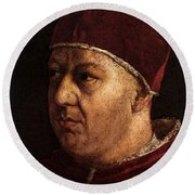 Raphael Pope Leo X With Cardinals Giulio De  Medici And Luigi De  Rossi  Round Beach Towel