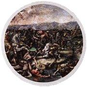 Raphael The Battle At Pons Milvius  Round Beach Towel